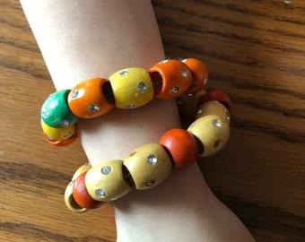 Wooden bead bracelet set ORANGE TAN and GREEN
