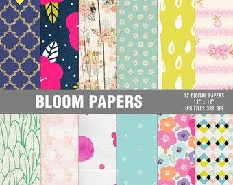 Bloom digital papers, Scrapbooking digital papers, Floral digital papers, Spring digital papers, Spring digital paper pack, Printable paper