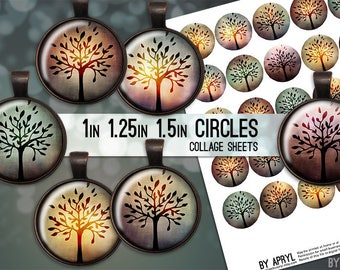 Mystic Trees Digital Collage Sheets 1 inch 1.25 and 1.5 Circles Printable Download for Pendant Magnet Bottle Cap Necklaces JPG