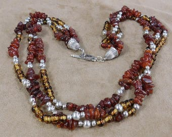 Three Strand Amber, Sterling Silver and Glass Bead Necklace