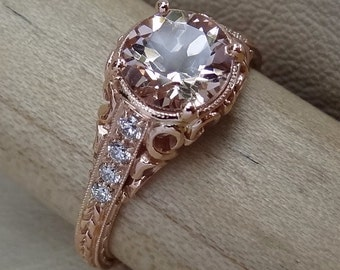 Vintage Pink Peach Morganite with Diamonds Engraved Filigree Antique Style Engagement Ring 14K Rose Gold