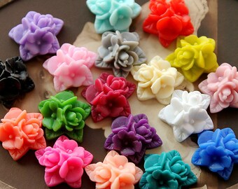 36pcs Wholesale Beautiful Mix Colorful Ruffle Rose Flower Resin Cabochon   -18colors  -17x15mm(CAB-NA -MIXSS )