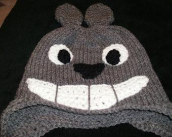 Totoro Earflap beanie, grey hat, cosplay, Pokemon hat, adult beanie