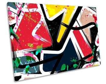 Graffiti Abstract Urban Grunge Framed SINGLE CANVAS PRINT Wall Art