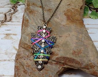Rainbow Rhinestone Arrowhead Necklace - Arrowhead Necklace - Bronze Arrowhead - Rainbow Arrowhead - Free US Shipping