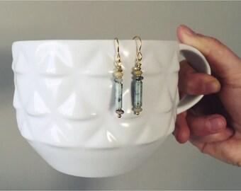 Pippy Drops — kiwi jasper tunnels, beige yellow grey amazonite rondelles, gold brass beads, 10-karat ear wires, dainty nashville rochester