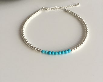 Silver and turquoise anklet. Turquoise ankle bracelet. Sterling silver anklet. Gemstone anklet. Anklet. Ankle bracelet. Beaded anklet. Ankle