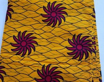 Yellow African Fabric; Ankara Fabric; African Clothing; African Fabric in yard; African Headwrap;Ankara Fabric in yards;