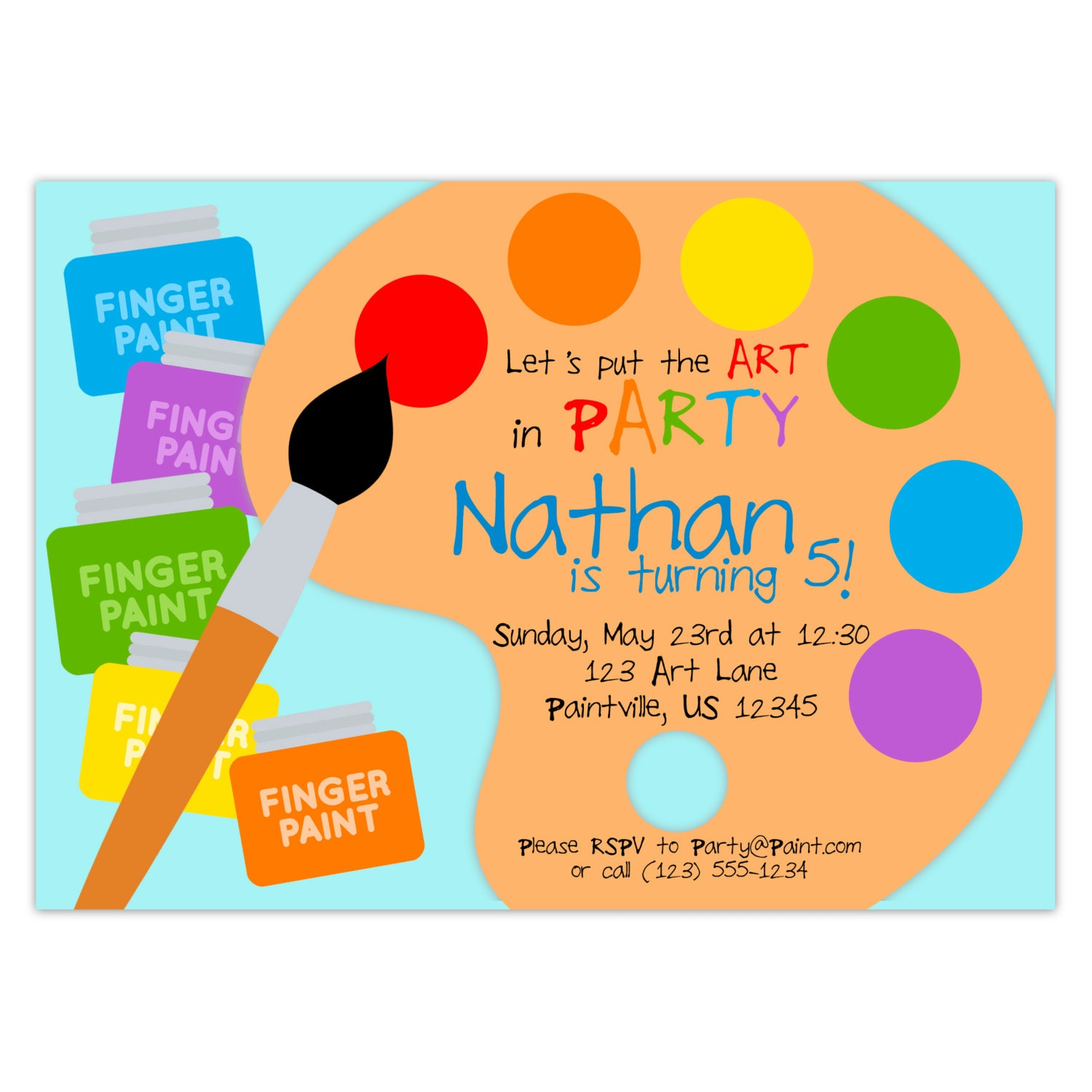 Art Party Invitation Rainbow Paint Pallet Little Artist - Paint party invitation template free