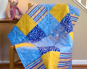 baby quilt, baby, modern baby quilt, blue, yellow, sailboats, lighthouses, boy, girl, modern baby quilts