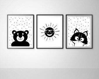 Nursery black and white Set of 3 print Sun print Bear print Cat print Baby room art Gender neutral nursery Instant download Set of 3 print