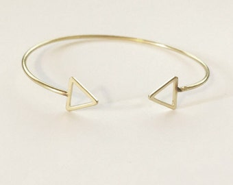 18k Gold Plated Double Triangle Bangle