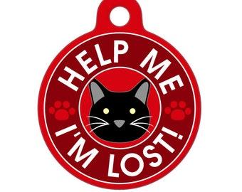 Pet ID Tag - Help Me, I'm Lost - Black Cat Pet Tag, Dog Tag, Cat Tag