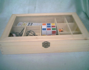 10 compartments glass cover wood boxes jewelry boxes wooden box