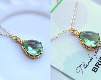 Gold Prasiolite Necklace Green Jewelry - Wedding Necklace Green Bridesmaid Jewelry - Prasiolite Bridal Jewelry Bridesmaid Gift Under 30