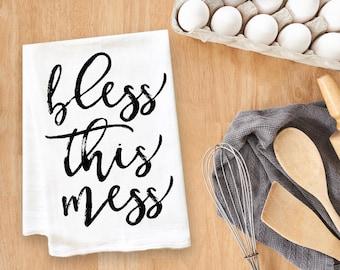 Bless This Mess Tea Towel Flour Sack Towel Kitchen Towel