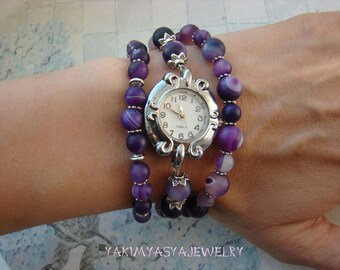 Purple silver watches bracelet Agate women wristwatch Classic unique beaded watches Stone multi row business bracelet Gift for partner