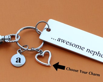 Personalized Nephew Key Chain Stainless Steel Customized with Your Charm & Initial -K560