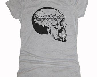 Women's Music Minded Shirt Tone Wave Skull Sacred Geometry Frequency Pythagoras Burnout Tee