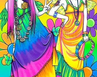SALE Chloe Harmony Adoralicious Rainbow Hippie Fairies Signed 13 X 19 inch Print