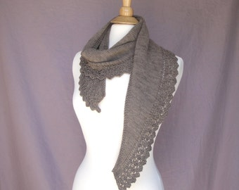 Brown Scarf with Lace, Organic Merino Wool, Hand Knit, Shawlette, Unusual Scarf, Luxury Natural Fiber, Mother's Day Gift