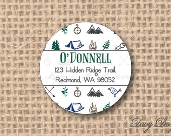 Round Return Address Labels with Outdoor Nature Icons - 96 self-sticking labels