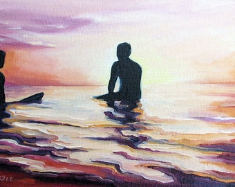 """Eventide by Daina Scarola, panorama reproduction on 8 1/2"""" x 11"""" fine art paper (surf art, silhouettes)"""