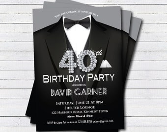 Man 50th birthday invitation black tie and suit diamond 40th birthday invitation man black tie and suit diamond bling gala dinner birthday party printable digital invite ab039 filmwisefo