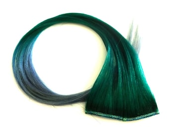"""Set of TWO 20"""" Clip-In Human Hair Streaks, Clover with Lavender Grey Tips - green gray mermaid festival hair extensions"""