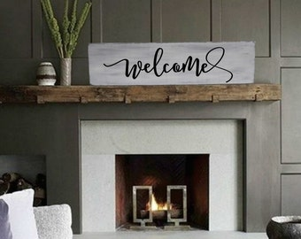 """Welcome Sign / Farmhouse Sign / Rustic Wood Sign / Fixer Upper Style / Wooden Sign / Housewarming Gift / Farmhouse Decor / 29"""" x 9.25"""""""