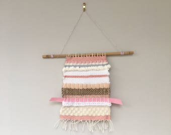 Hand crafted small woven wall hanging/ weaving/ wall art piece, pinks and whites