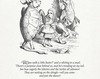 The Lobster-Quadrille - quote poster Alice in Wonderland / Through the Looking-Glass based on book illustration by J. Tenniel #85