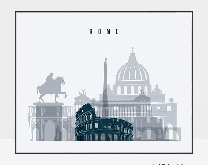 Rome print, wall art, Poster, Rome Italy skyline, City print, Travel poster, Rome Decor, Typography art, Gift, Home Decor, ArtPrintsVicky