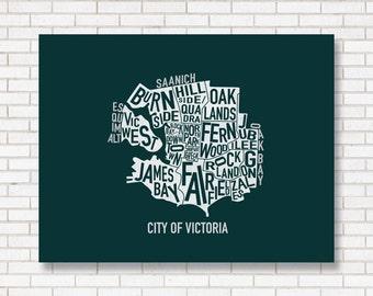 Victoria Print, Neighborhood map, digital illustration, wall art, home decor, typography poster