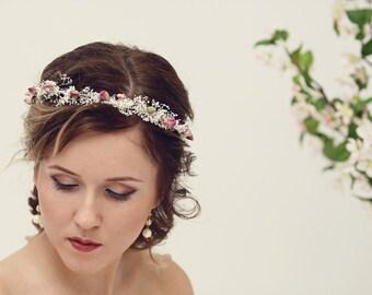 Natural rose crown, Bridal crown, Dried flower crown, Rustic wedding headpiece, Flower crown, Baby's breath crown, Ivory bridal headpiece