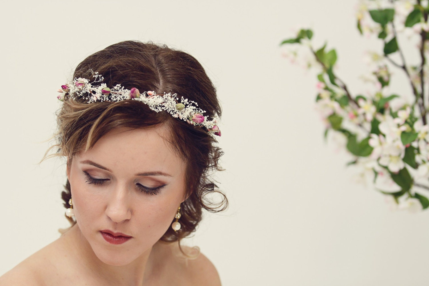 Natural Rose Crown Bridal Crown Dried Flower Crown Rustic
