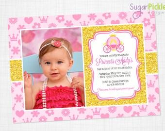 Princess Photo Invitation, Princess Invitation, Photo Invitation, Birthday idea for girls, Girl Birthday invitation, PRINTABLE