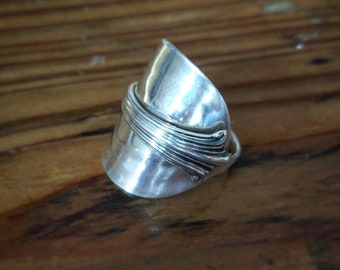 Ladies Sterling Silver - Antique Spoon Ring Upcycled Boho Jewellery - Vintage - Size S (UK)