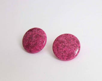 VINTAGE Earrings Pink 1980s Round Clip Ons