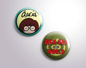 Daria Pinback Buttons [Set of 2, 1.5 inch Buttons]