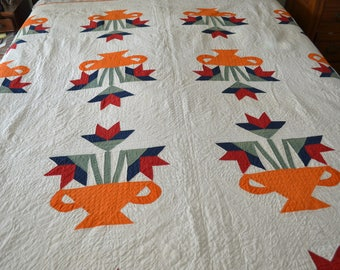 antique quilt appliqued basket tulips hand quilted 1915 Signed vibrant colors orange blue red good cond./offered by poshparagons for you!