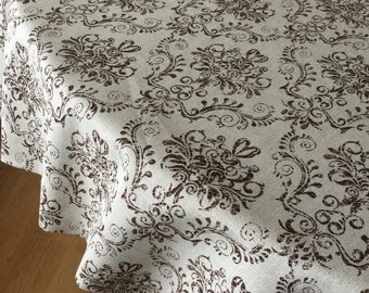 Round Tablecloth Oval Tablecloth Brown Cotton Fabric 70 Inches 80, 90, 108  Inches