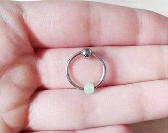 Glow in the dark opal ball helix stud earrings, helix opal earrings, tragus opal hoop