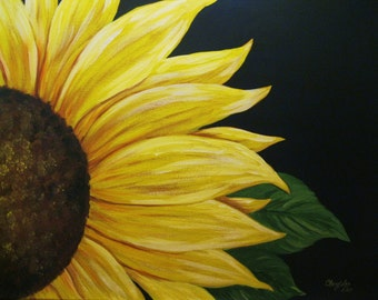 "Sunflower  painting,  Handpainted acrylic sunflower on 16"" x 20"" stretched canvas painting"