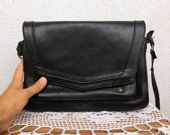 Vintage 80s Satchel, Black Leather Bag, Classic Shoulder Purse, Crossbody Bag, Envelope Clutch, Structured Tote, Postman Bag, Boho Purse