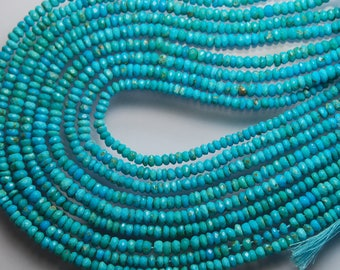13.5 Inches, Strand, Super Great Quality, Natural Arizona Sleeping Beauty Turquoise Rondelles, 2.75-3mm