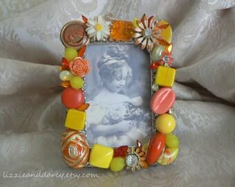 Yellow Orange Vintage Jewelry Rhinestone 2 x 3 Photograph Picture Photo Frame