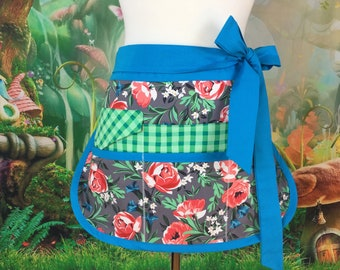 Bed of Roses Sassy Teacher Apron, Half Apron with 6-8 pockets, Plus Sizes, Vendors, Gardening, Utility, Teacher Gifts,  Back to School