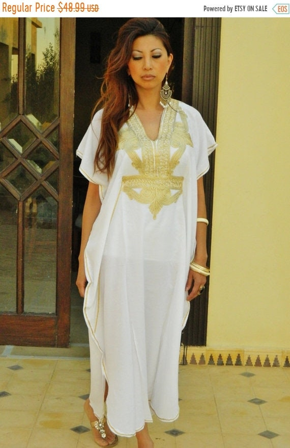 Kaftan Sale 20% Off/ White Caftan Kaftan Maxi Dress Moroccan Marrakech Style- White with Gold Embroidery, for beach cover ups, birthday gift