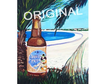 Cyprus Citrus IPA, Cyprus Beach Poster, Beer on Beach Art, Hula Hops Brewing, Craft Beer Gift for Him, Cyprus Beer, Palm Tree, Art for Men